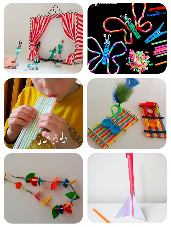 6 manualidades infantiles con pajitas pequeocio - Manualidades para realizar en casa ...