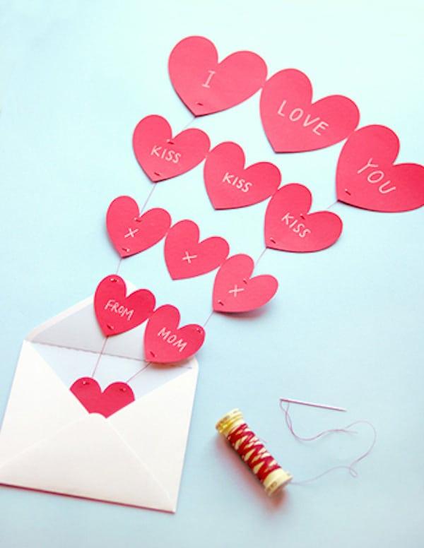 tarjetas del dia de la madre faciles cascada de corazones