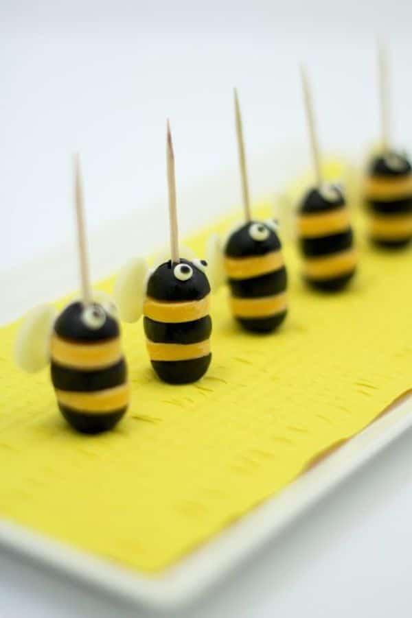 aperitivos fciles para nios abejas de queso y olivas
