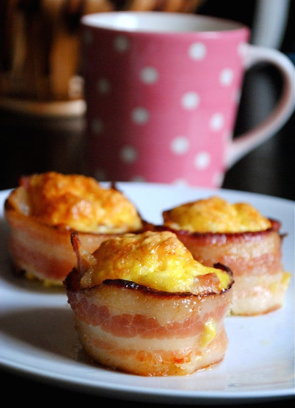 Cupcakes de bacon y huevo