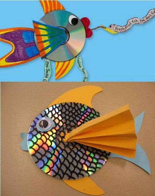 simptica manualidad reciclada con cds peces manualidades