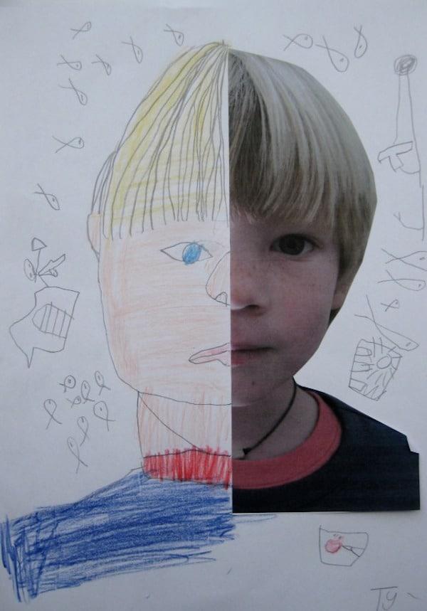 dibujar retratos con los niños