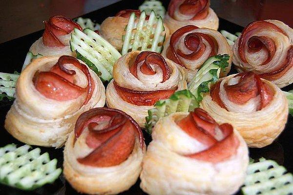 recetas de aperitivos rosas de masa quebrada y jamn