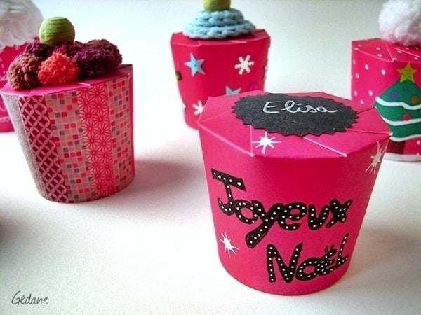 Cajitas de regalo con vasos de papel