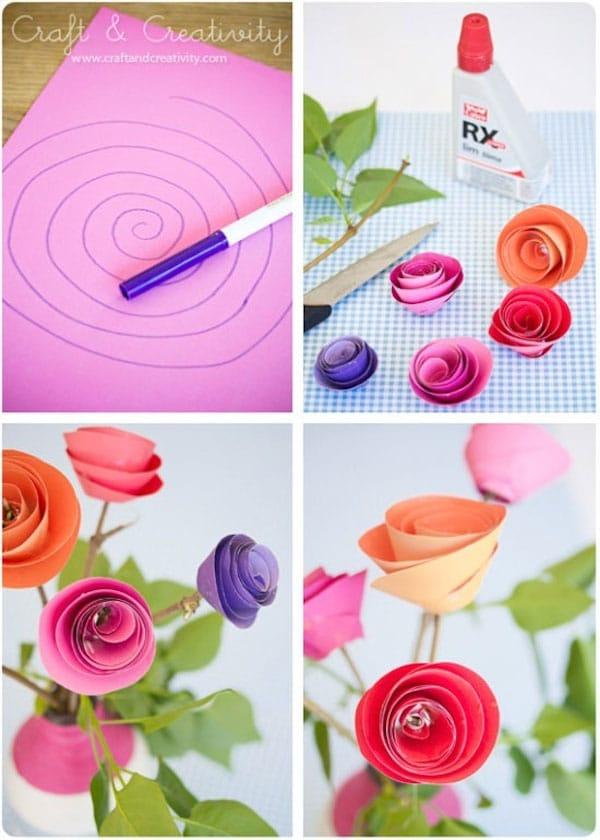 Flores fciles de papel easy paper flowers car interior - Como hacer flores ...