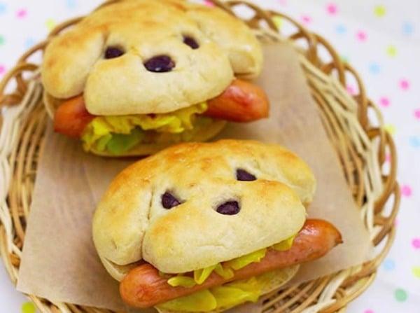 sandwich divertido con hot dog