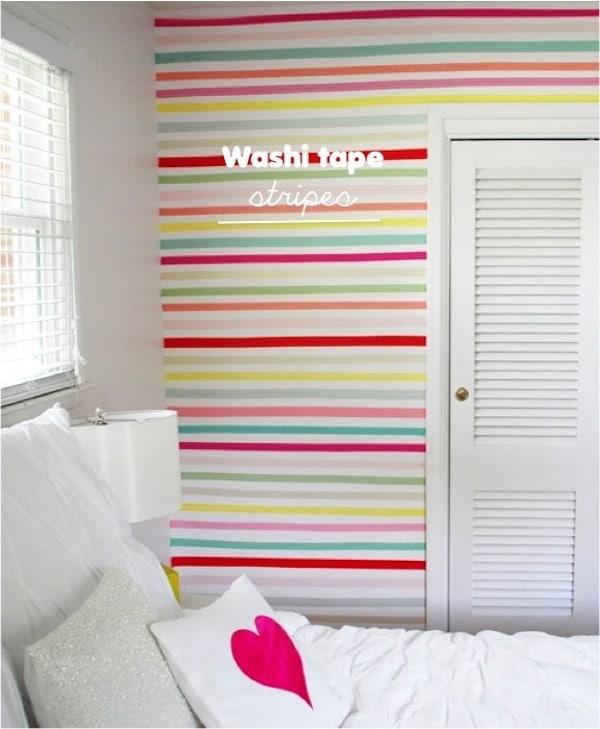 Decoracion Infantil Washi Tape ~ Habitaciones infantiles decoradas con washi tape, pared a rayas