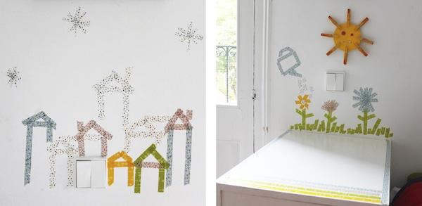 Decoracion Infantil Washi Tape ~ Habitaciones infantiles decoradas con washi tape, dibujos de los