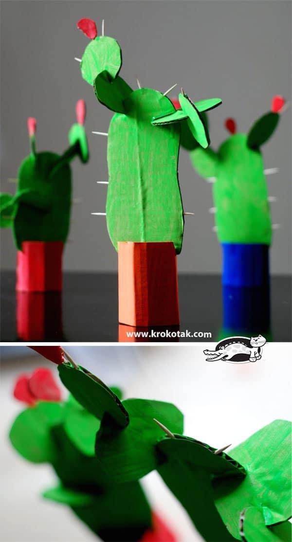 manualidades para ninos con carton cactus