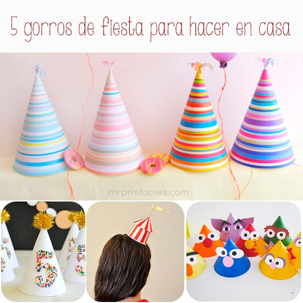 Cotill n 5 gorros de fiesta caseros pequeocio - Vasos para cumpleanos infantiles ...