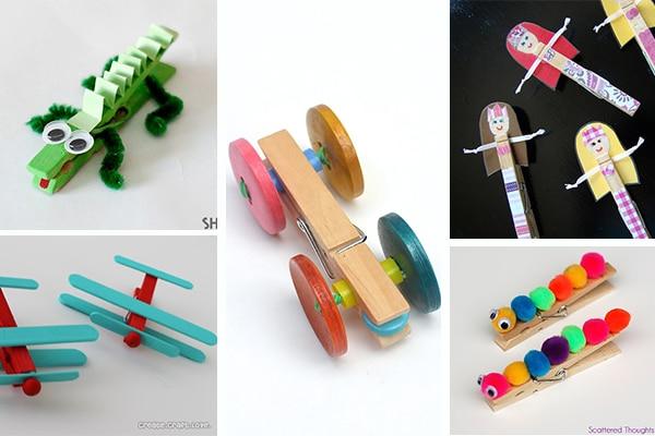 5 manualidades con pinzas ideas divertidas pequeocio - Manualidades con madera faciles ...