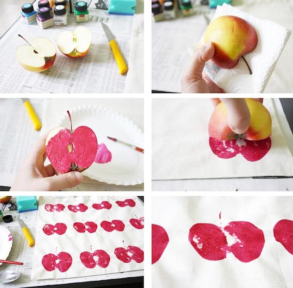 Estampado sobre tela con manzanas