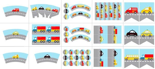 Kit de fiesta temática de coches gratis