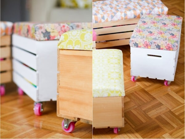 Muebles reciclados con cajas de fruta pequeocio for Muebles con cajas de madera
