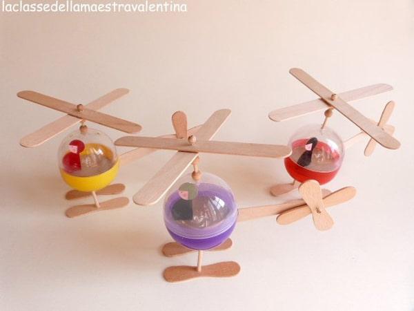 Manualidades para niños con palitos de helado, helicóptero