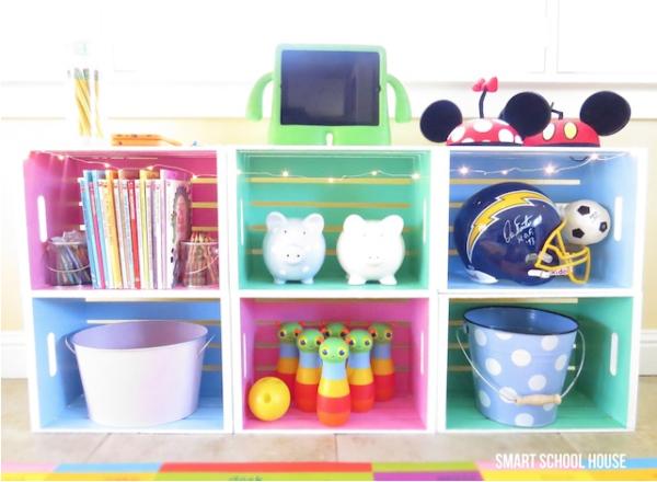 Muebles reciclados con cajas de fruta Pequeocio