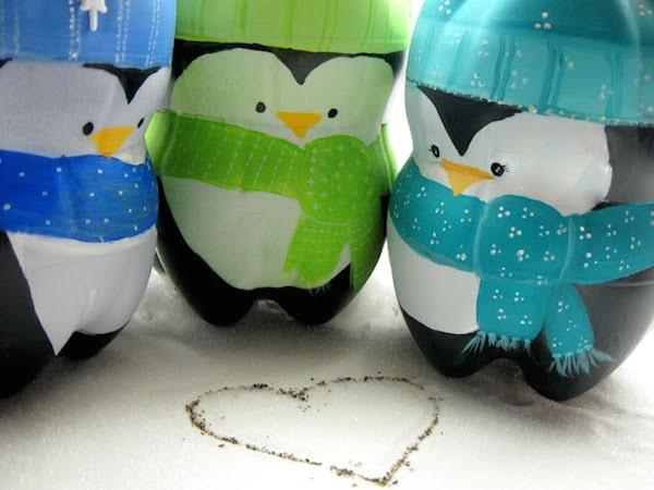 Penguins Made From Soda Bottles