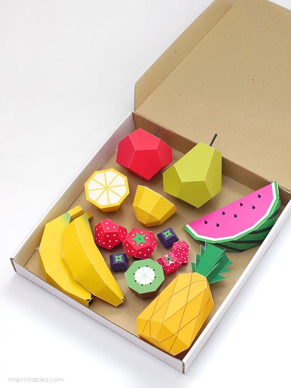 con papel para nios fruta para imprimir