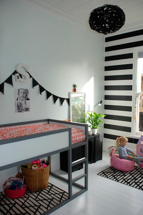 10 habitaciones infantiles en blanco y negro pequeocio for Cuarto negro y rojo