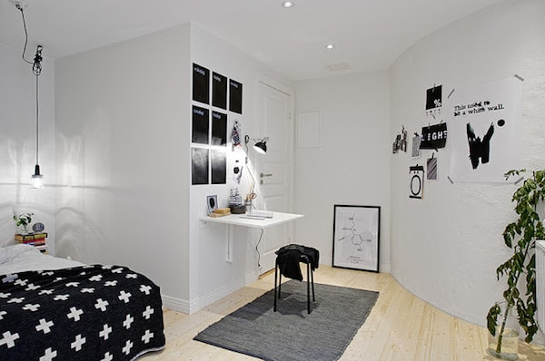 Habitaciones juveniles en blanco y negro