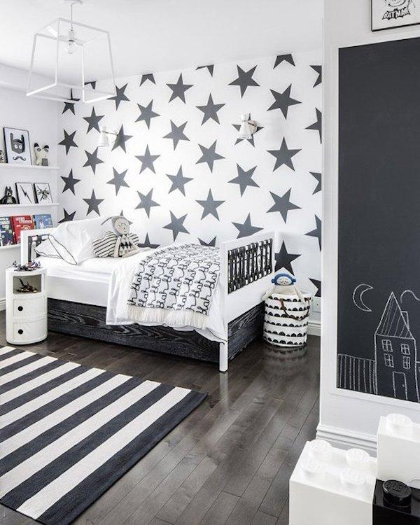 Bedroom Wallpaper Designs Black And White Bedroom Furniture For Teenagers Bedroom Door Curtains Diy Kids Bedroom Decor: 10 Habitaciones Infantiles En Blanco Y Negro