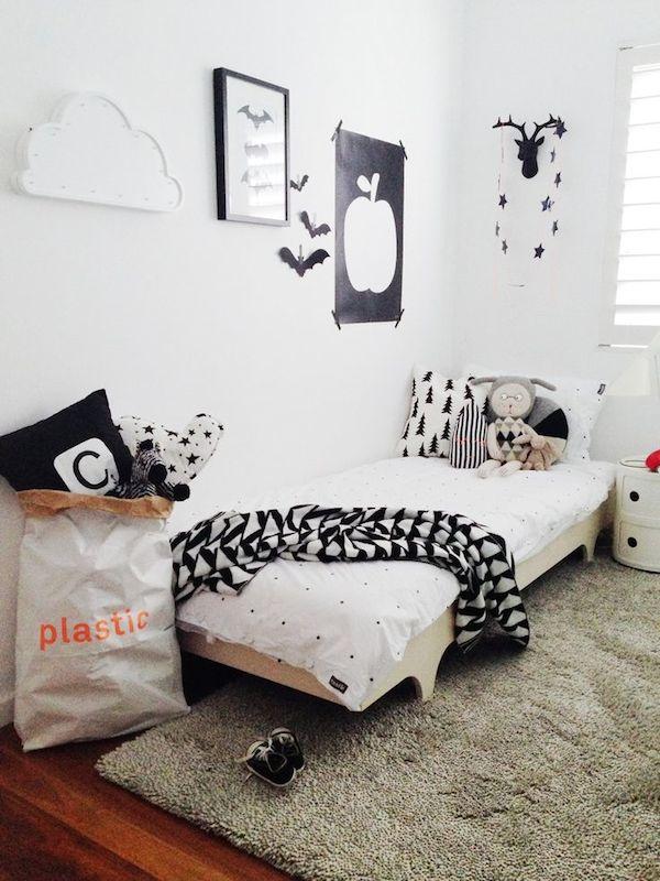 Dormitorios infantiles en blanco y negro