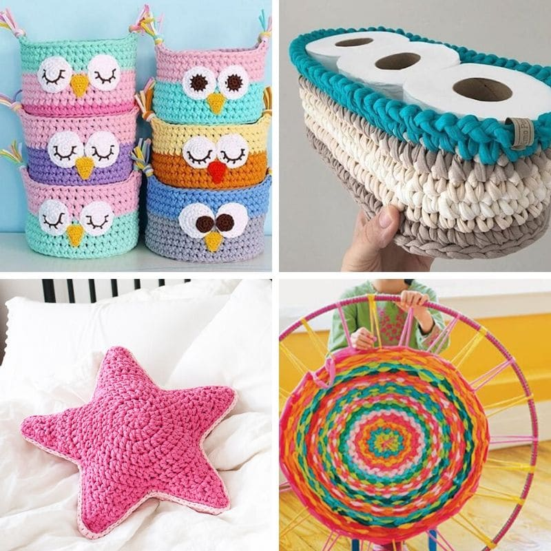 manualidades con trapillo y crochet faciles