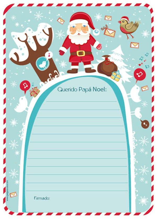 Cartas a Pap Noel 5 plantillas para imprimir gratis  Pequeocio