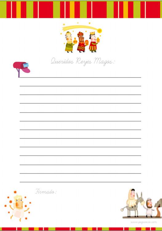 Carta Reyes imprime gratis