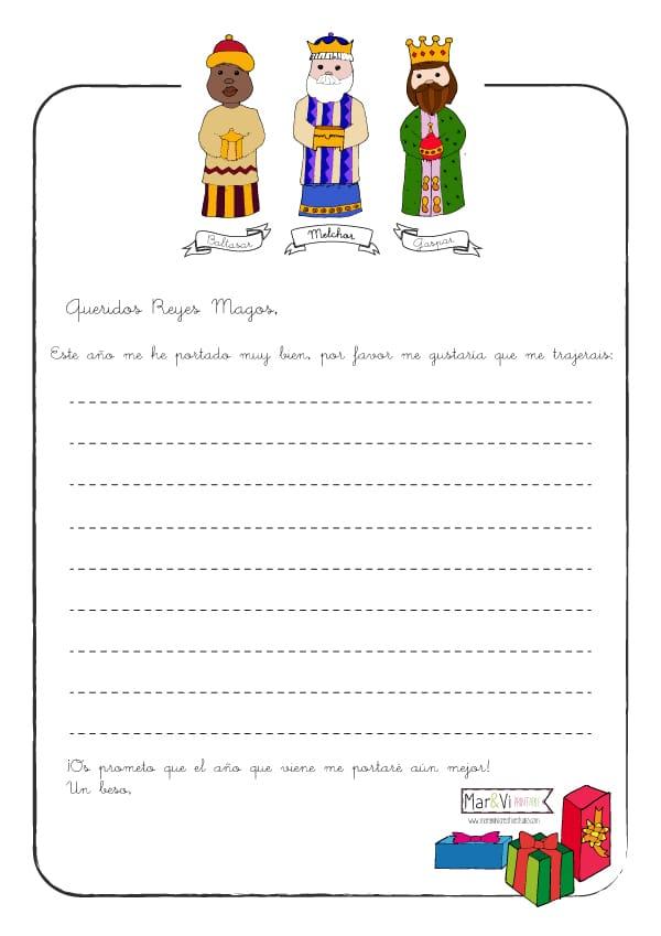 Worksheet. Carta a los Reyes Magos para imprimir gratis  Pequeocio