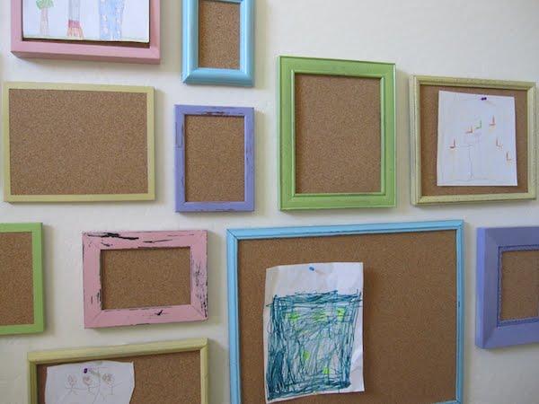 decorar paredes con dibujos marcos con corchos paredes infantiles