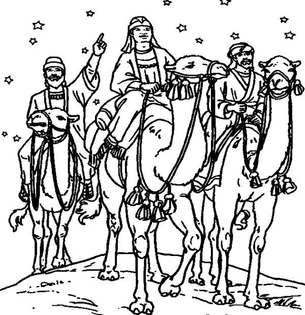 Dibujos de los Reyes Magos para colorear  Pequeocio