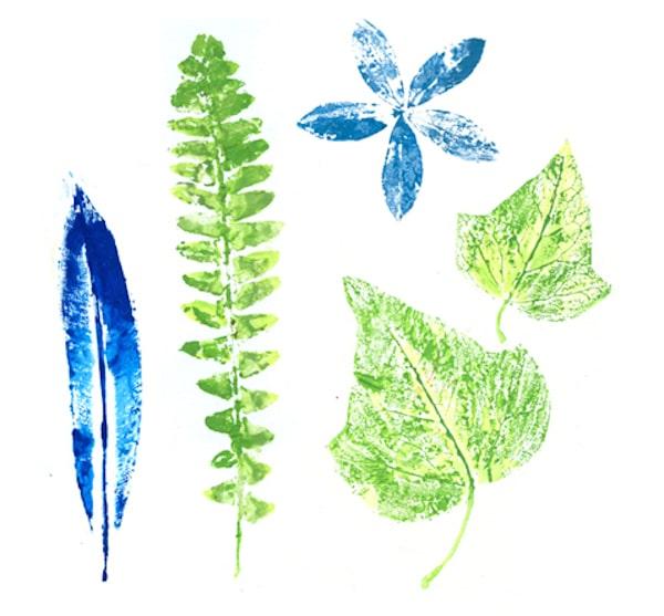 Pintar con hojas