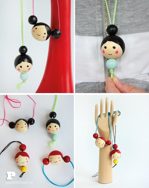 Manualidades infantiles 6 collares divertidos pequeocio - Bolas de madera para manualidades ...