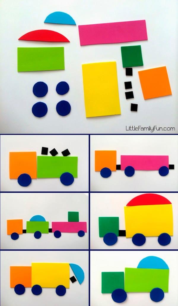 5 manualidades infantiles para aprender las formas pequeocio - Aprender a pintar en madera ...
