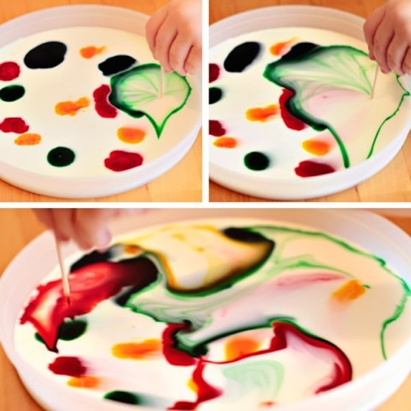 Manualidades para niños, pintura de leche