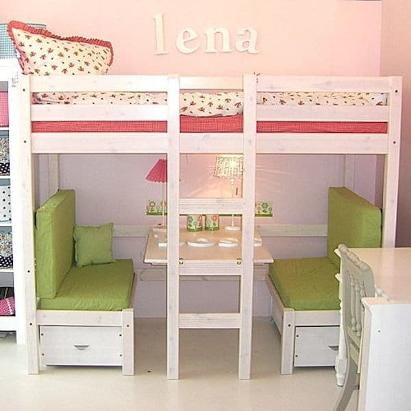 Camas infantiles ganar espacio con camas altas pequeocio - Camas con escritorio debajo ...