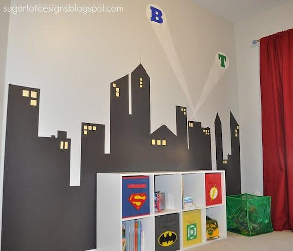 Murales infantiles de superhéroes