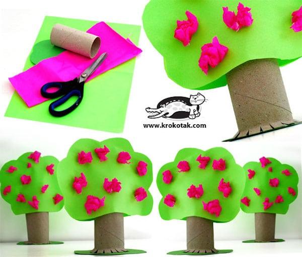 5 manualidades recicladas con rollos de papel pequeocio - Arbol de papel manualidades ...