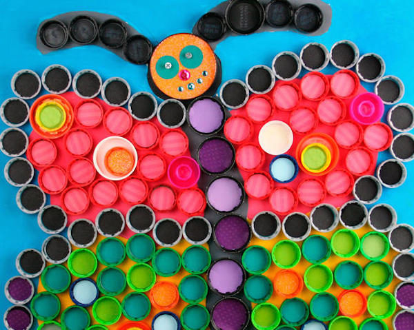 manualidades recicladas con tapones de plstico