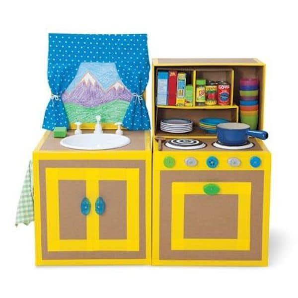 5 cocinitas de juguete caseras pequeocio for Planos para hacer una cocina de juguete