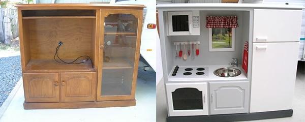 muebles reciclados de mueble tv a cocinita de juguete