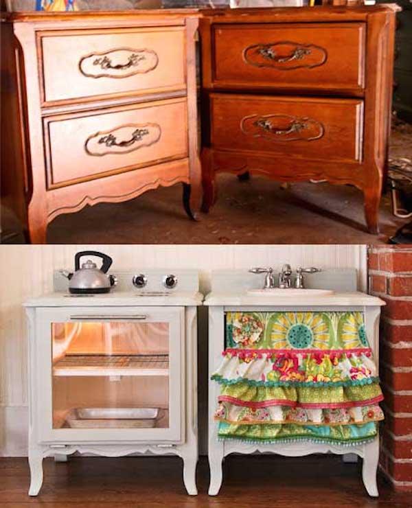 Muebles reciclados, de mesillas de noche a cocinita de juguete