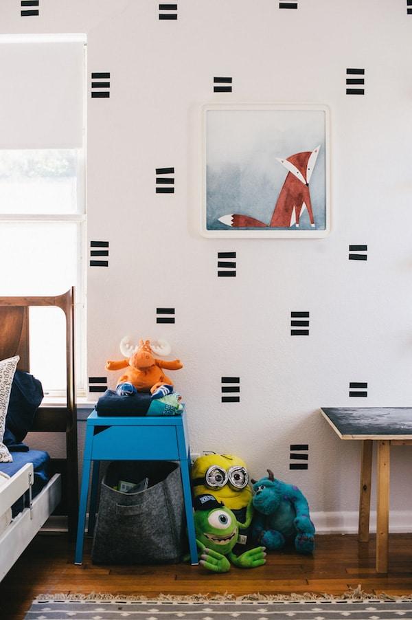 Habitaciones infantiles paredes con washi tape pequeocio - Paredes habitaciones infantiles ...