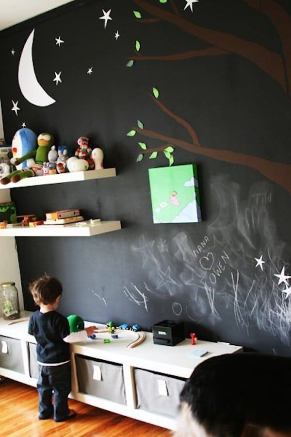 habitaciones infantiles pared de pizarra completa - Pared Pizarra