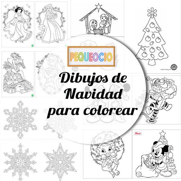 Dibujos navideños para colorear - Pequeocio