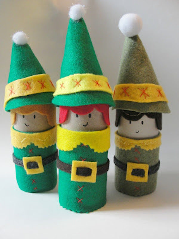 Manualidades de navidad con rollos de papel pequeocio - Manualidades de navidad con papel ...