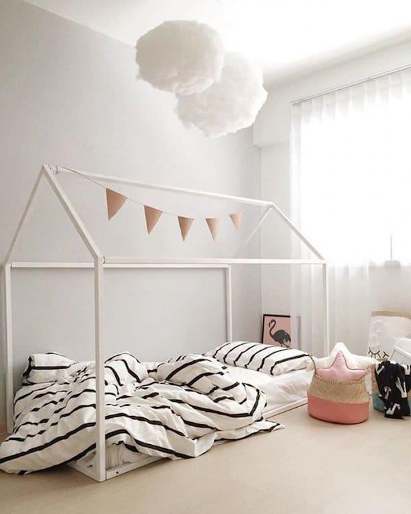 Camas infantiles en forma de casita pequeocio - Medidas de camas infantiles ...