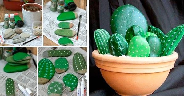 C mo hacer cactus con piedras pintadas paso a paso pequeocio for Piedras pequenas para decorar