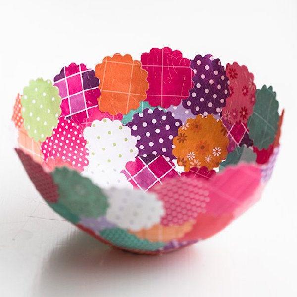 C mo hacer cuencos f ciles con papel pequeocio - Como hacer manualidades con tela ...